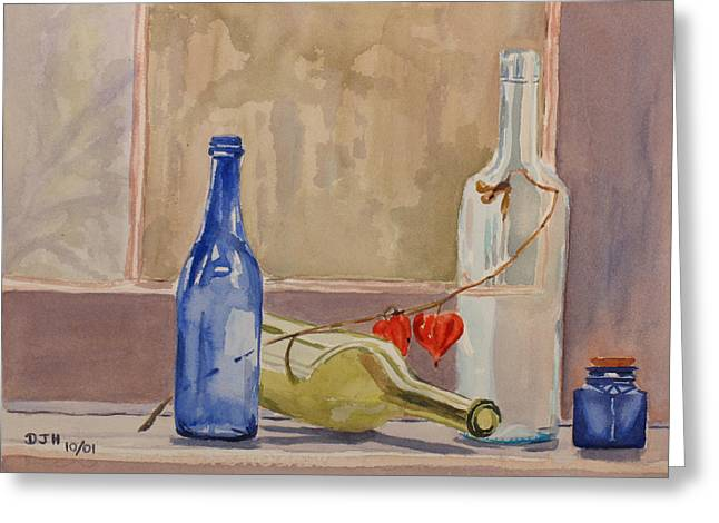 Wine Bottles On Shelf Greeting Card by Debbie Homewood