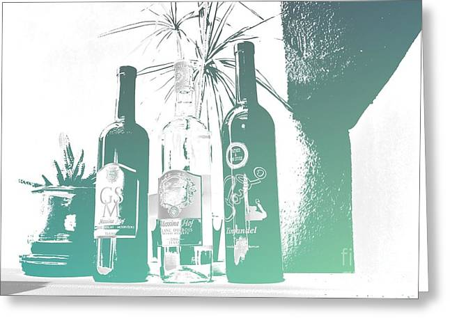Wine Bottles Greeting Card by RJ Aguilar