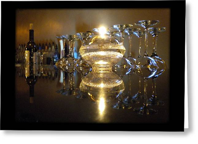 Wine By Candle Light Greeting Card