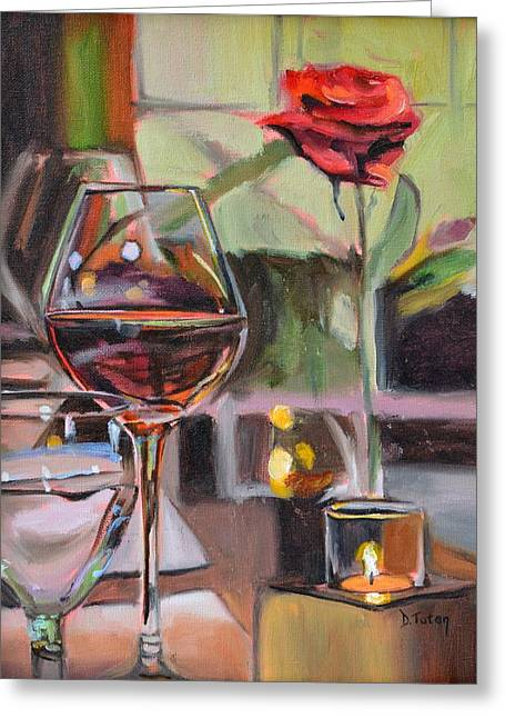 Wine By Candlelight Greeting Card by Donna Tuten