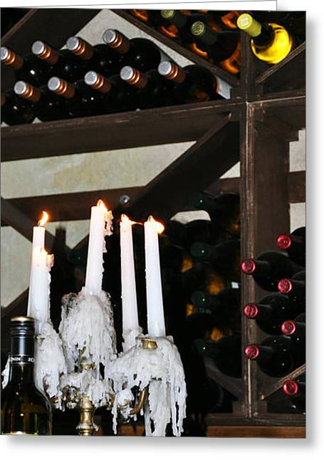 Wine By Candlelight Greeting Card by Rose  Hill