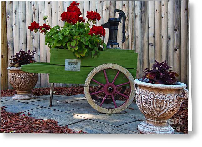Wine Cart Pump Geranium Planter Greeting Card