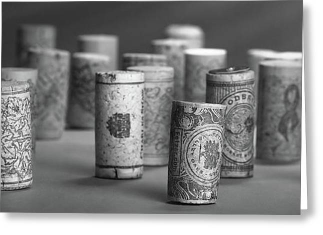Wine Cork Panorama In Black And White Greeting Card