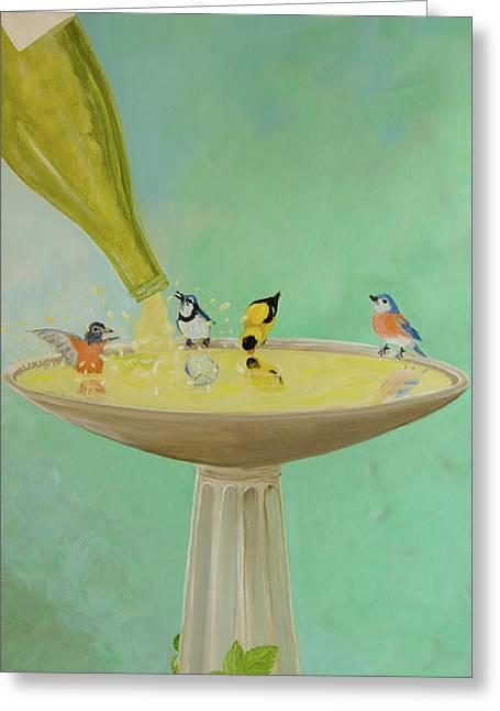 Wine Country Bird Bath Greeting Card