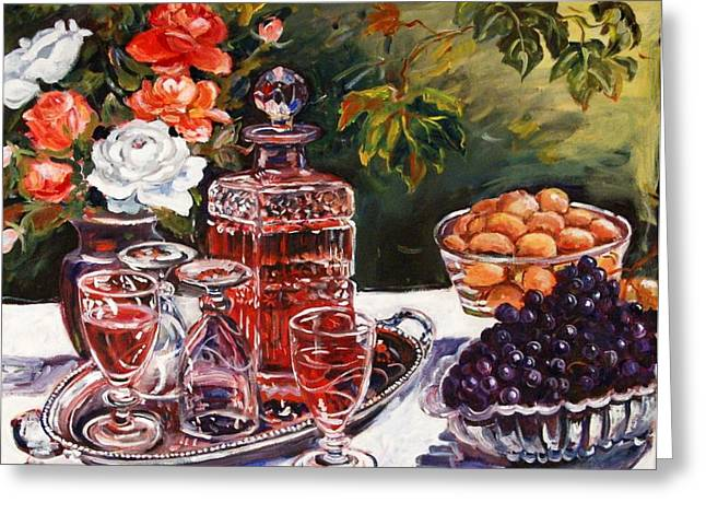 Wine Decanter Still Life Greeting Card by Alexandra Maria Ethlyn Cheshire