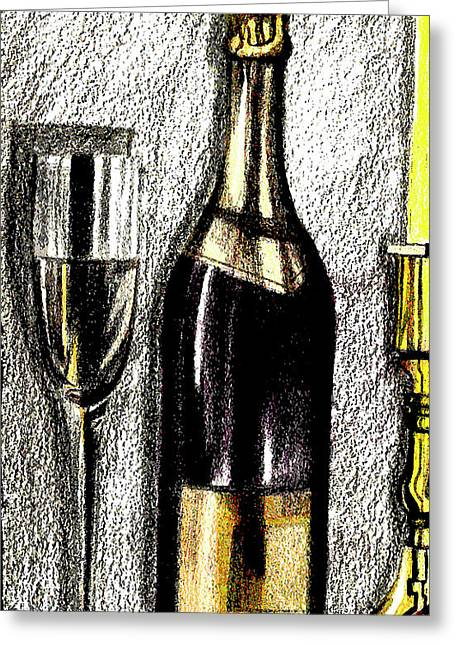 Wine For One Greeting Card by Mary Bedy