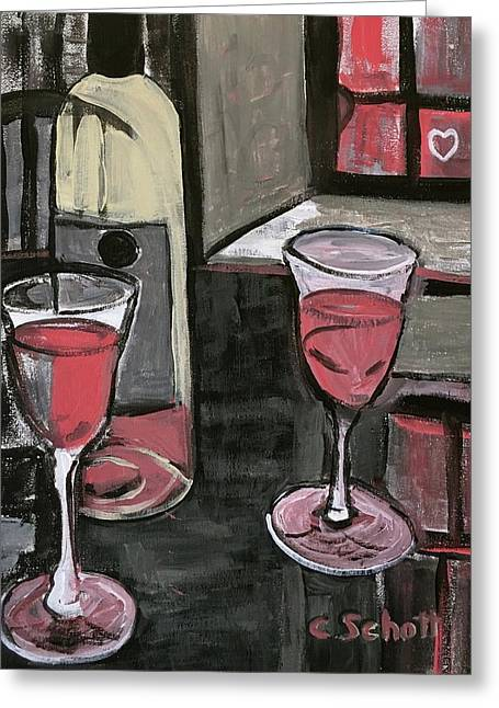 Wine For Two Greeting Card