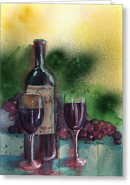 Labelled Greeting Cards - Wine for Two Greeting Card by Sharon Mick