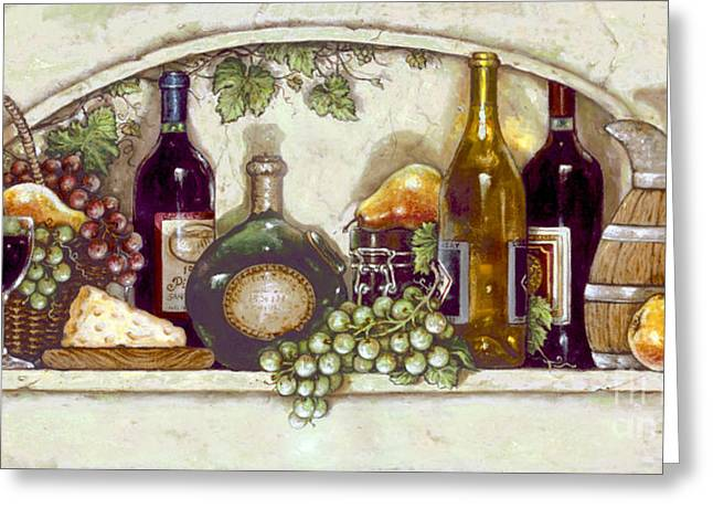 Wine Fruit N Cheese Pantry Greeting Card by Janet  Kruskamp