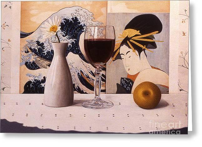 Wine Glas And Japanese Prints Greeting Card by Daniel Montoya