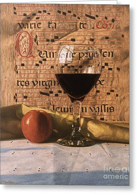 Wine Glass And Manuscript Greeting Card by Daniel Montoya