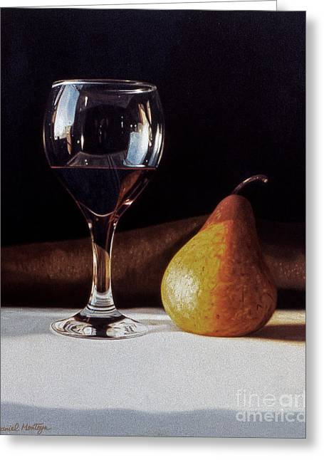 Wine Glass And Pear Greeting Card by Daniel Montoya