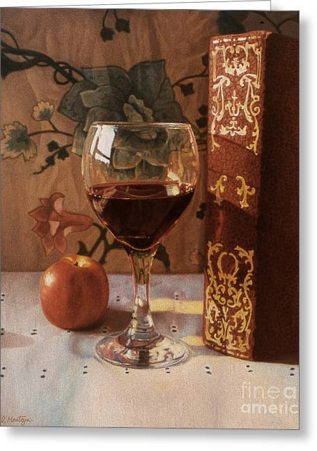 Wine Glass And Red Book Greeting Card by Daniel Montoya