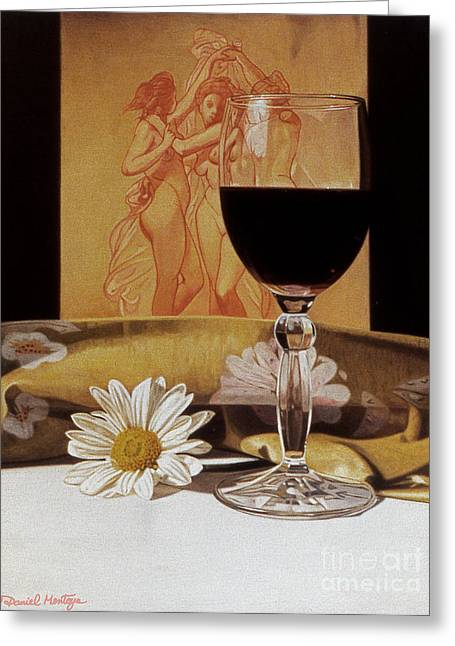 Wine Glass And Three Graces Greeting Card by Daniel Montoya