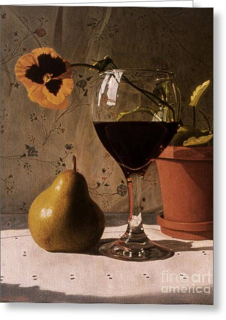 Wine Glass Pear And Pansy Greeting Card by Daniel Montoya