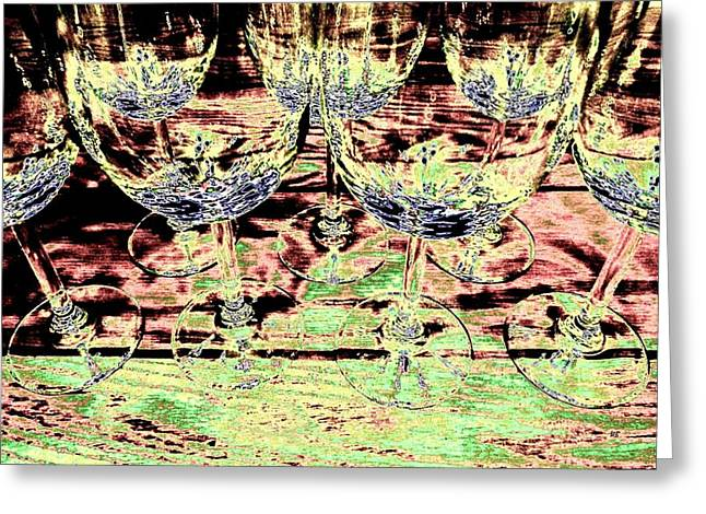 Wine Country. Digital Art Greeting Cards - Wine Glasses Greeting Card by Will Borden