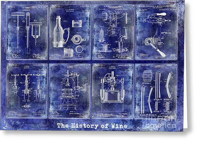 Wine History Patents Blue Greeting Card by Jon Neidert