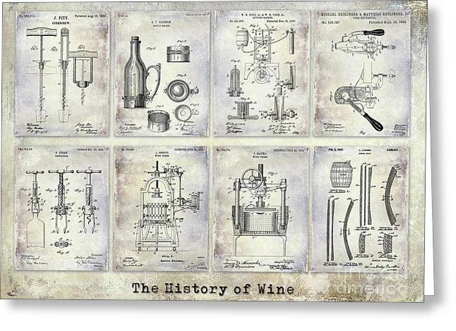 Wine History Patents Greeting Card by Jon Neidert