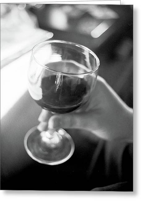 Wine In Hand Greeting Card