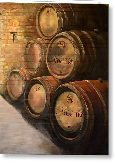 Greeting Card featuring the painting Wine In The Barrels - Chateau Meichtry by Jan Dappen