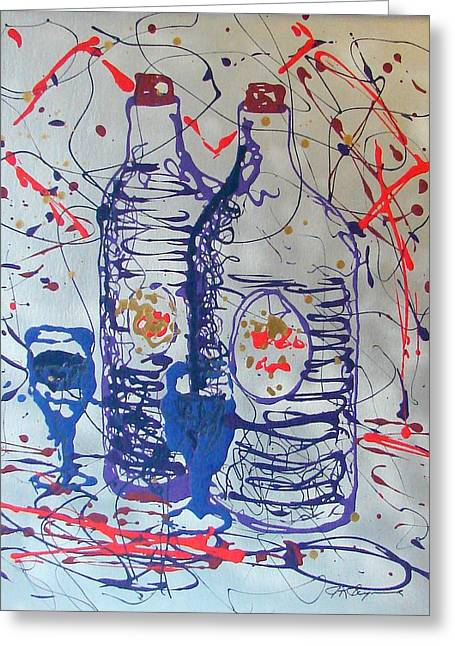 Greeting Card featuring the painting Wine Jugs by J R Seymour