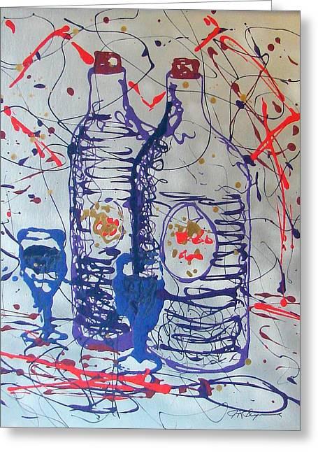Wine Jugs Greeting Card by J R Seymour