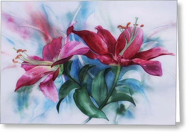 Wine Lillies In Pastel Watercolour Greeting Card
