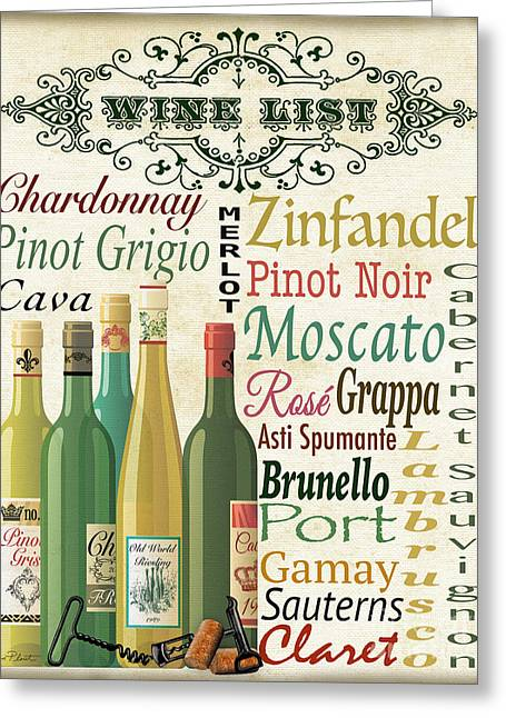 Wine List Art-jp3572 Greeting Card by Jean Plout
