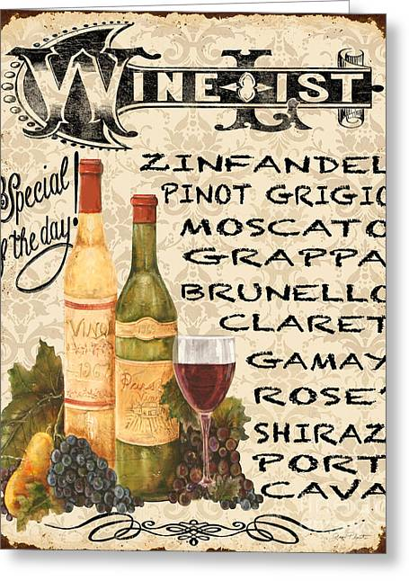 Wine List-jp3588 Greeting Card by Jean Plout