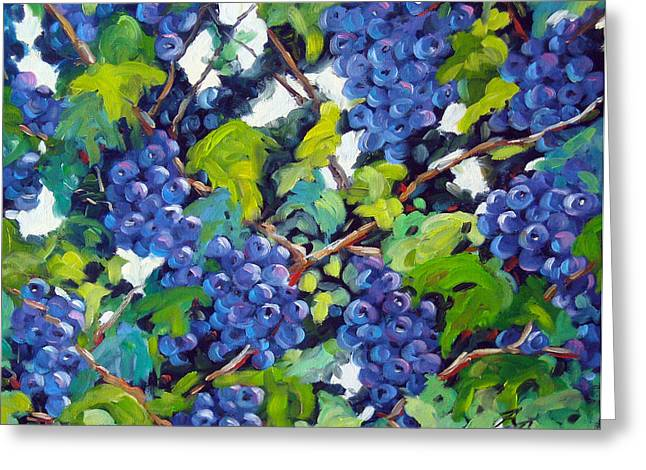 Wine On The Vine Greeting Card by Richard T Pranke