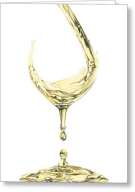 White Wine Pouring Greeting Card
