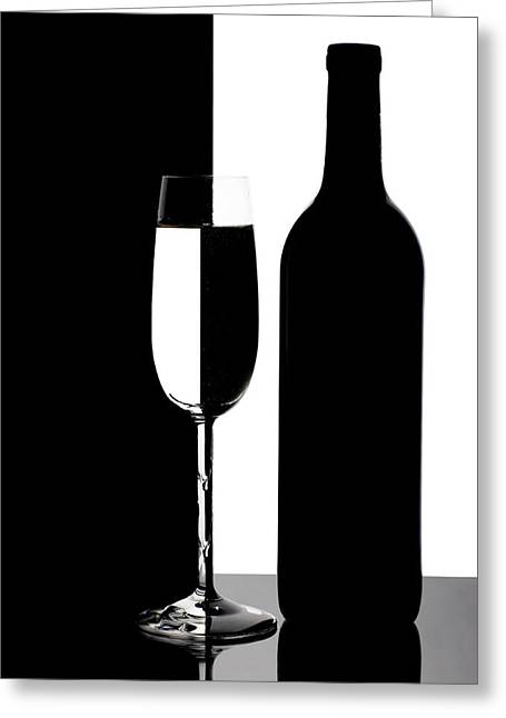 Wine Silhouette Greeting Card by Tom Mc Nemar