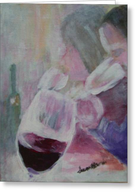 Wine Sipping Greeting Card by Susan Harris