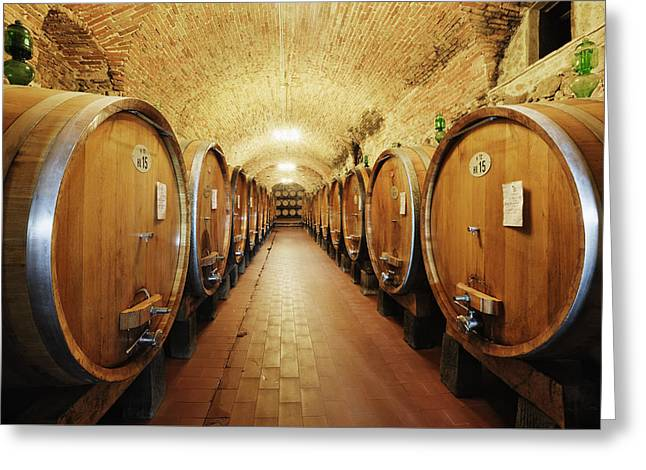 Chianti Greeting Cards - Wine Storage in Oak Barrels Greeting Card by Jeremy Woodhouse