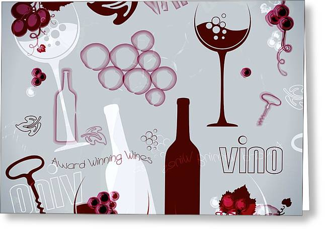 Wine Style Art Greeting Card by Serena King