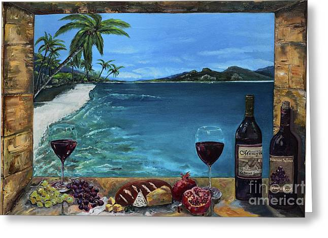 Greeting Card featuring the painting Wine Thirty - Oceanside by Jan Dappen