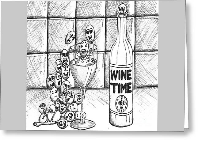 Wine Time Greeting Card by Elizabeth Worthington