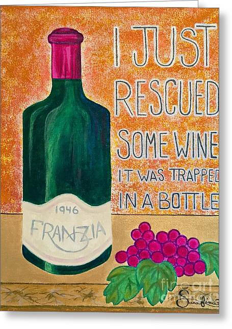 Wine Trapped In A Bottle Greeting Card by Sarafina Amodt