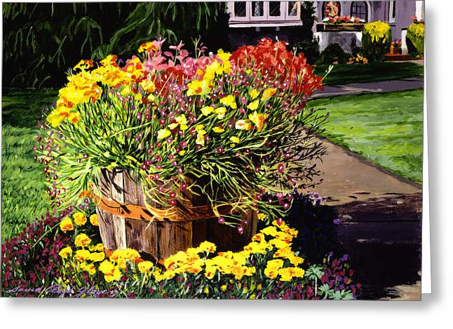 Winebarrel Garden Greeting Card by David Lloyd Glover
