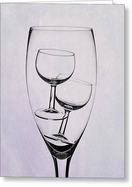 Wineglass Trio Greeting Card by Tom Mc Nemar