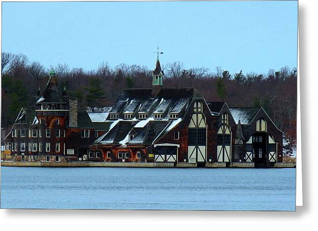 Snow On Boldt Castle Yacht House Greeting Card