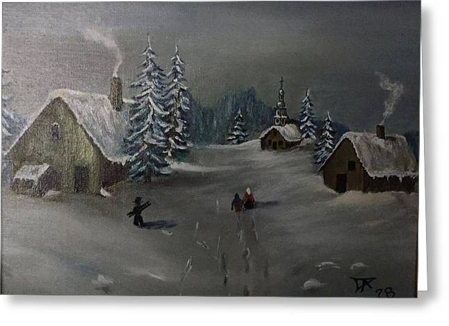 Winter In A German Village Greeting Card