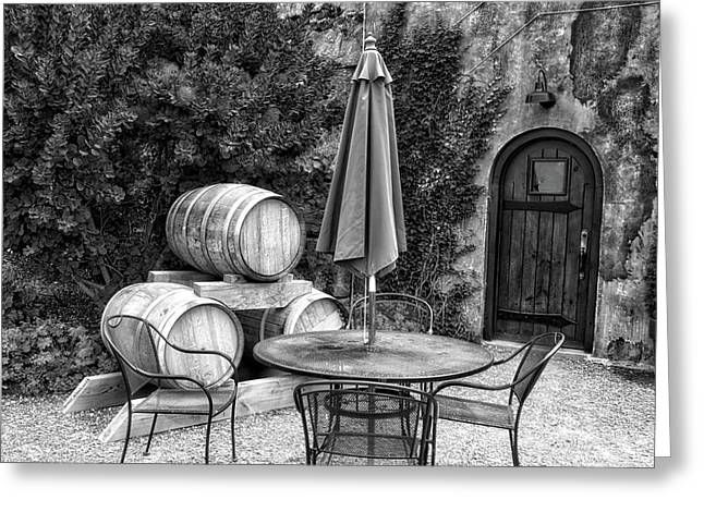 Winery Anyela's Vineyard Skaneateles New York Seating For Four Bw Greeting Card by Thomas Woolworth