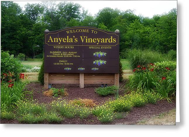 Winery Anyela's Vineyard Skaneateles New York Signage Greeting Card by Thomas Woolworth