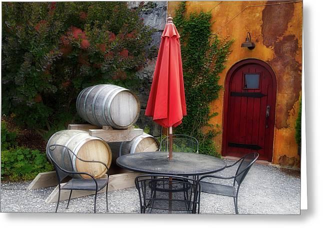 Winery Anyela's Vineyard Skaneateles New York Wine Barrels Greeting Card