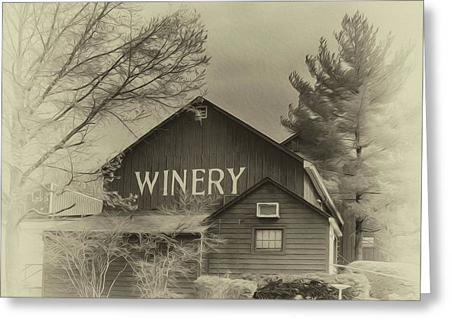 Winery In Sepia Greeting Card by Tom Gari Gallery-Three-Photography