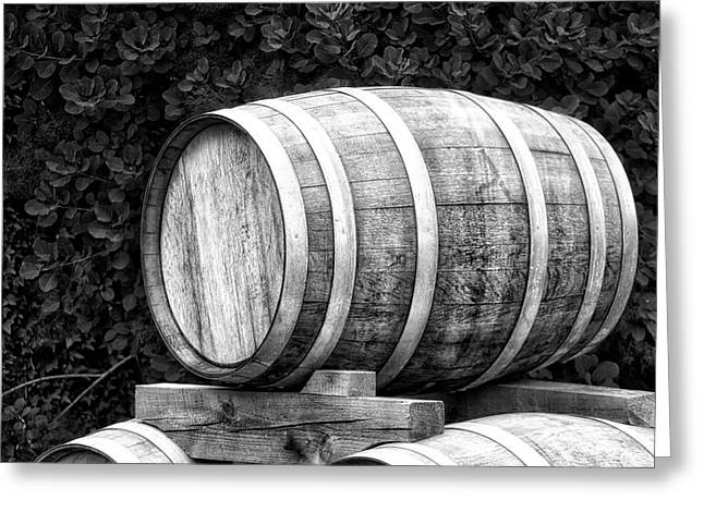 Winery Wine Barrel Bw Greeting Card by Thomas Woolworth