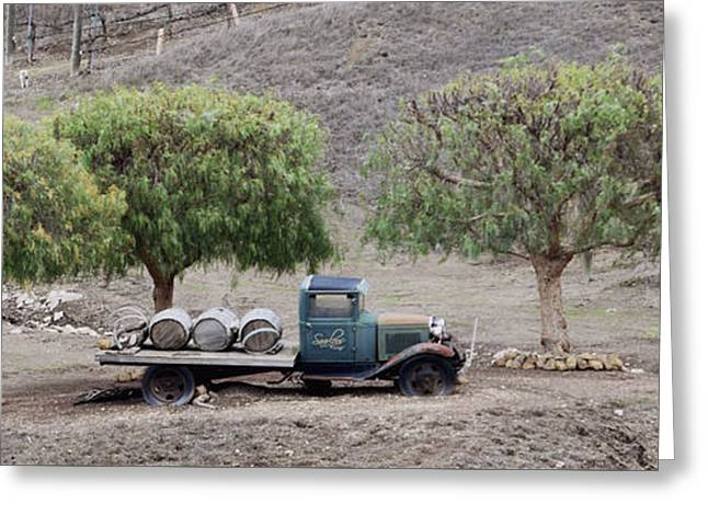 Winery Wine Barrels And Vintage Truck Greeting Card by Barbara Snyder