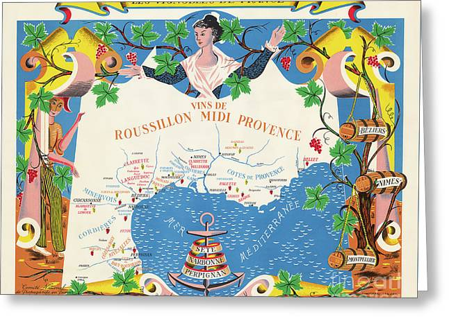 Wines Of Rossillon And Provance France Greeting Card by Jon Neidert