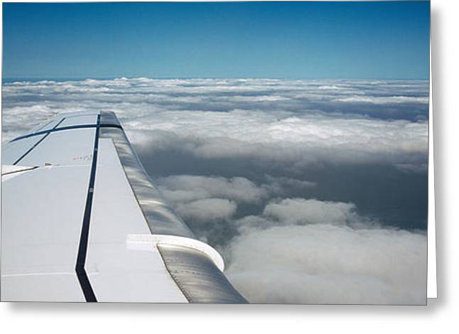 Wing Of An Airplane Greeting Card by Panoramic Images